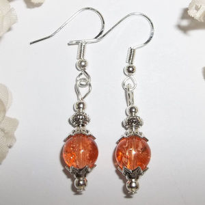 Earring Set Peach Orange Crackled Beaded NWT 4598